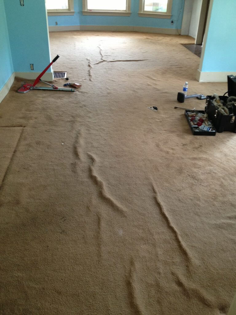 before and after carpet stretching full image
